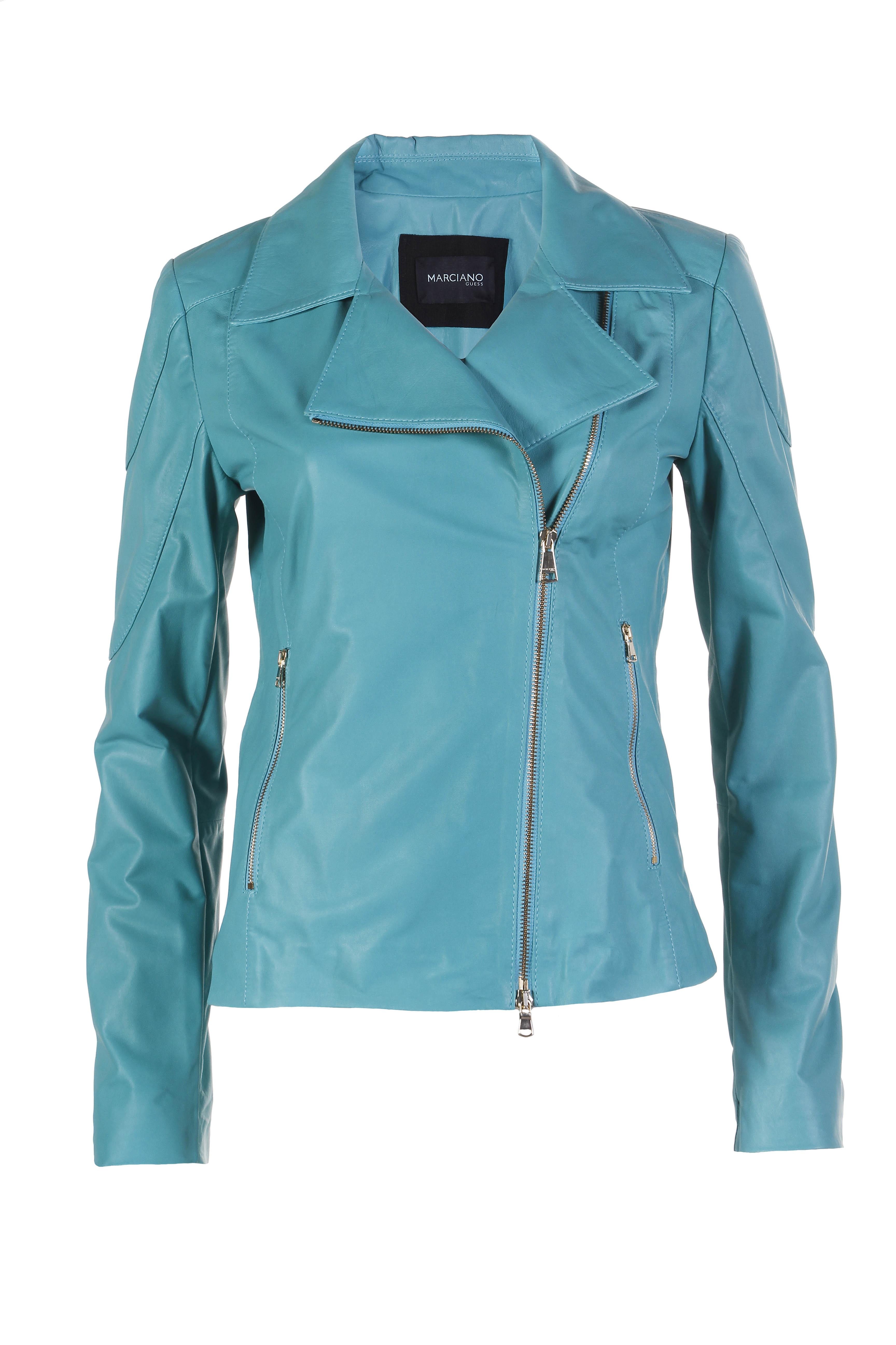 detailed look 00860 b98c2 guess-giacca-in-pelle-chiodo-blu-azzurra-zip-summer-spring ...