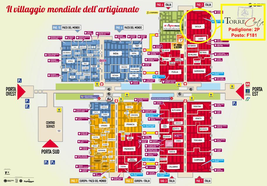 Mappa fiera artigianato milano torrecorta prodotti for Fiera 2016 milano